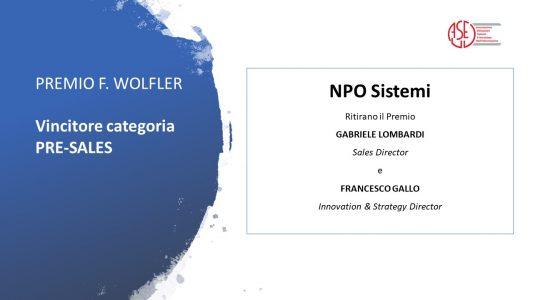 Npo Sistemi vince il Premio Wolfler di Aused come miglior partner Pre-sales